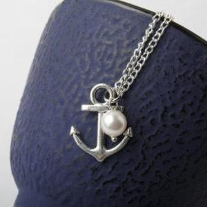 Silver anchor necklace, anchor jewe..