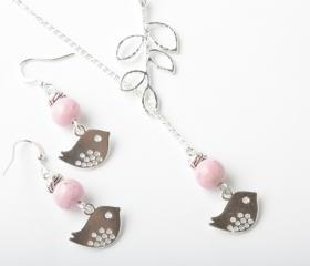 Silver bird and branch lariat necklace with pink fossil stone- silver plated chain- bird jewelry - bird necklace - bird lariat