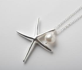 starfish necklace - 925 sterling silver necklace - silver starfish and Swarovski pearl necklace - Beach wedding necklace - nautical