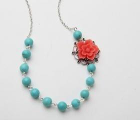 Coral Flower Necklace Statement Necklace Bridesmaid Jewelry Coral Wedding Coral and Turquoise Floral Necklace