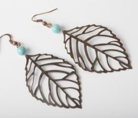 copper leaf earrings - blue fossil stone and copper earrings - leaf dangles - handmade earrings