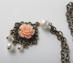 Peach flower cabochon and brass necklace - shabby chic - long necklace - peach rose bud necklace -brass and pearl - vintage style jewelry- sautoir