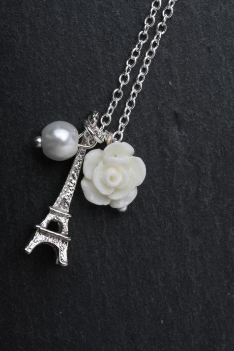 Eiffel necklace - Paris necklace - vintage style necklace - delicate necklace - blue rose necklace - Bridesmaid gift - Made in Canada - blue pearl - silver eiffel necklace - collier tour eiffel - collier délicat