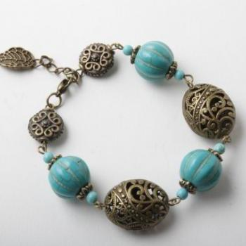 Bracelet -Turquoise and antique brass bracelet - gypsy bracelet -blue bracelet - antique bronze -boho jewelry -gypsy jewelry - handmade in Canada - rustic