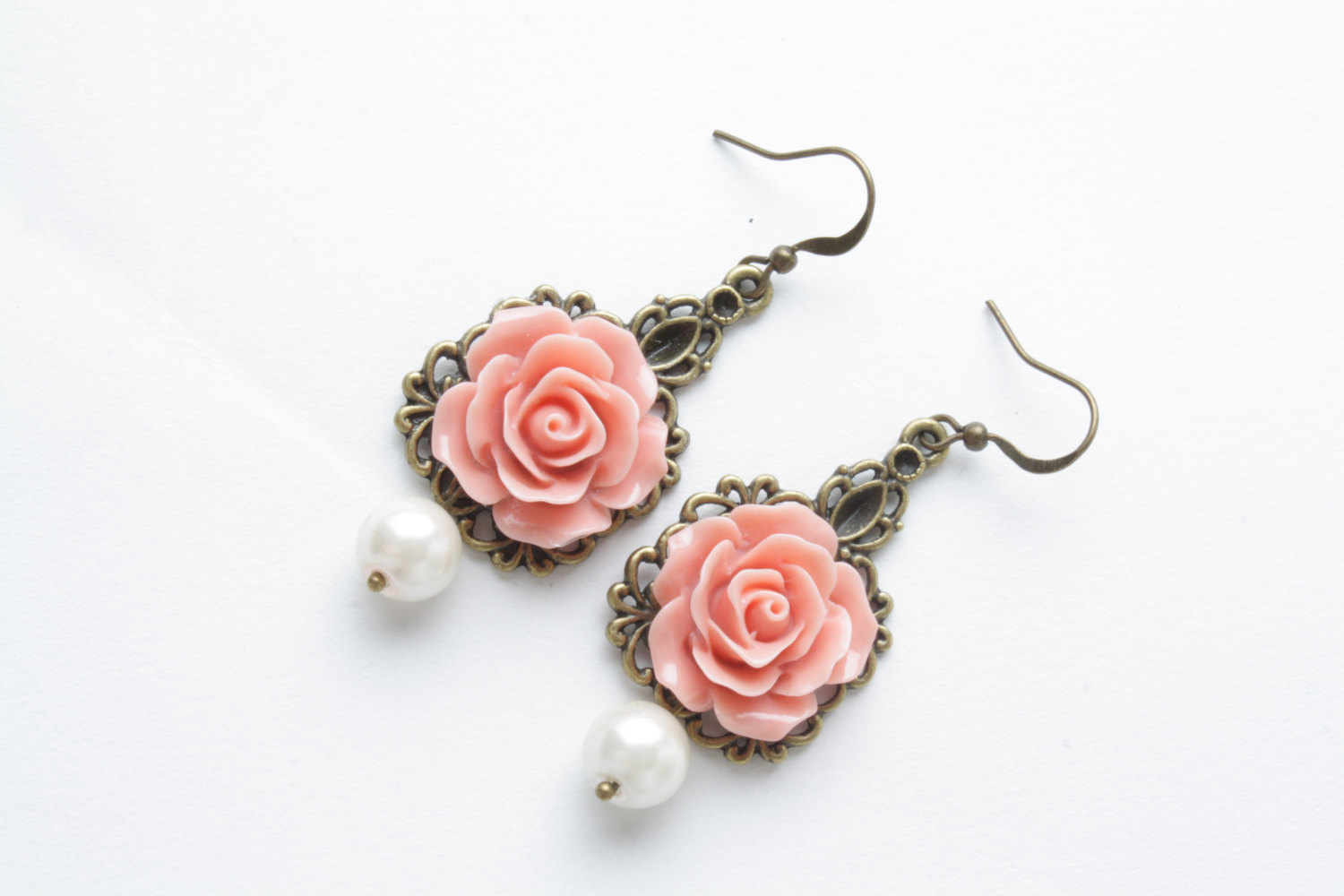 Rose Earrings  Vintage Style Earrings  Salmon Roses And Pearl  Shabby  Chic Earrings  Flower Dangles  Salmon Jewelry